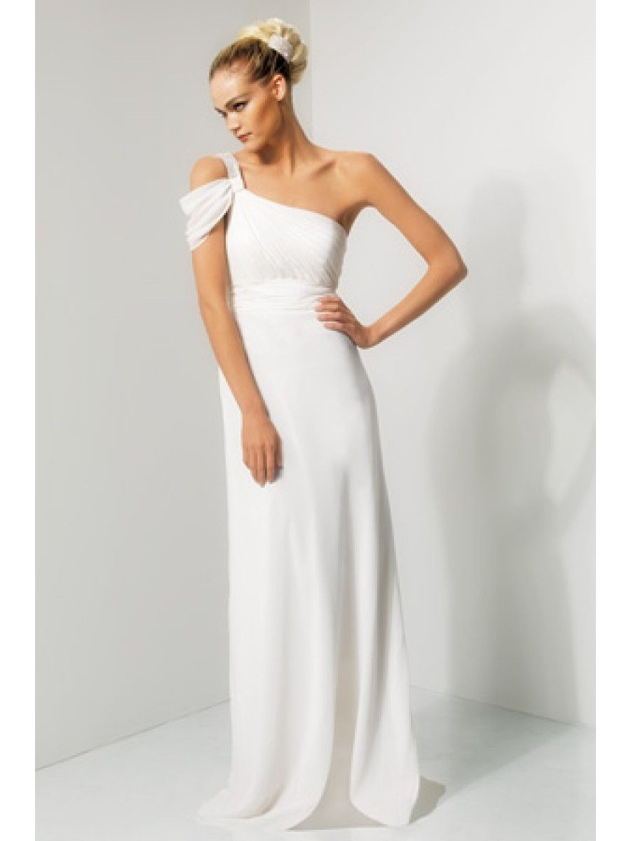 Long wedding guest dresses  Modest One Shoulder Long White Bridesmaid Dresses Wedding Guest