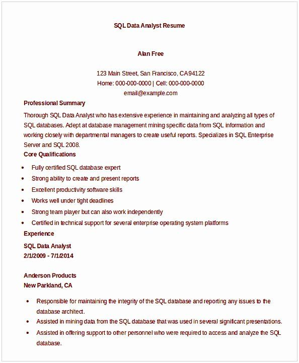 20 Entry Level Data Analyst Resume