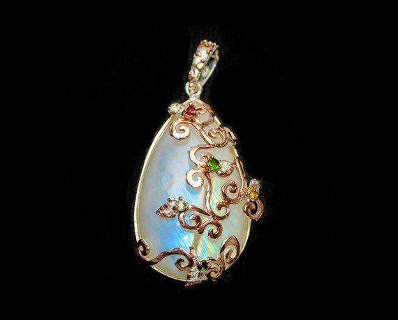 Rainbow moonstone necklace for women, Pear large gemstone pendant
