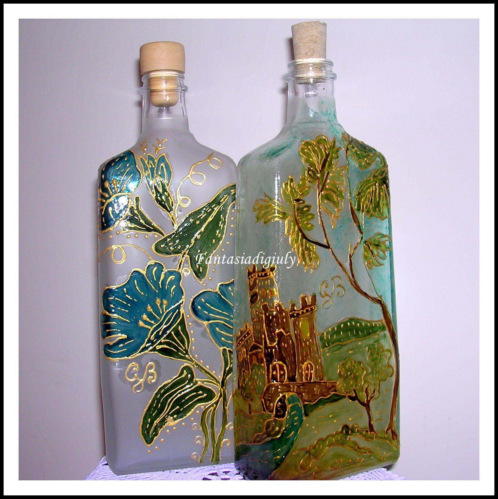 Creazione di giuliana b pittura su vetro www - Bottiglie vetro decorate ...