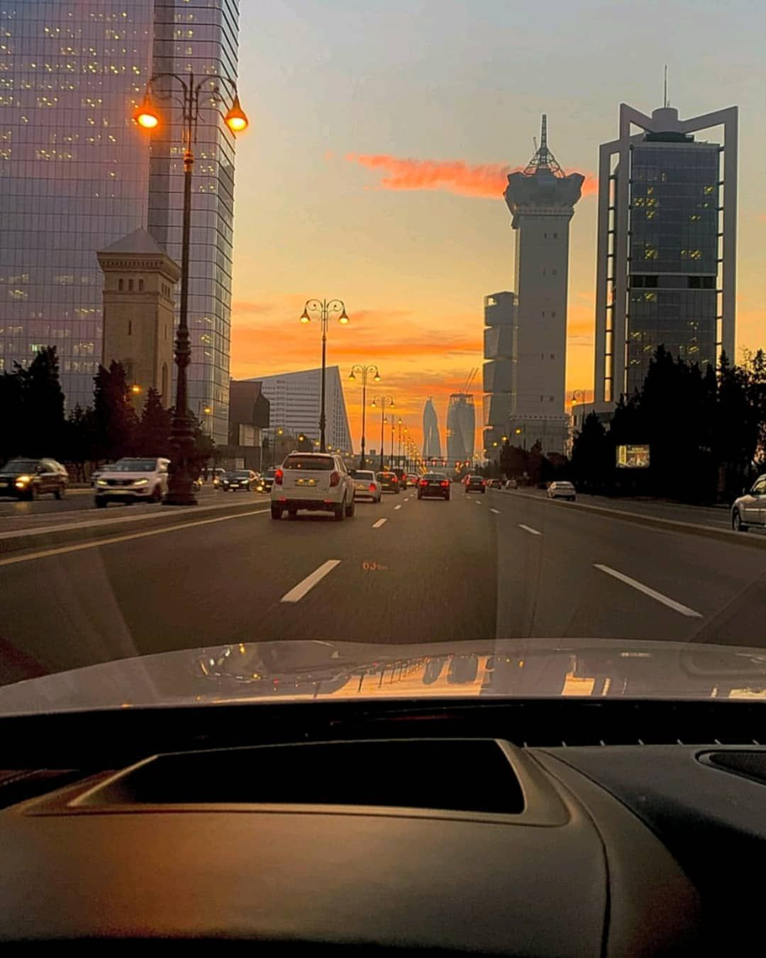 Azerbaijan On Instagram Baku From The Car Window Sunset And Weekend Little Relaxing Tag A Friend Baku Azerba Baku City Baku Azerbaijan Baku