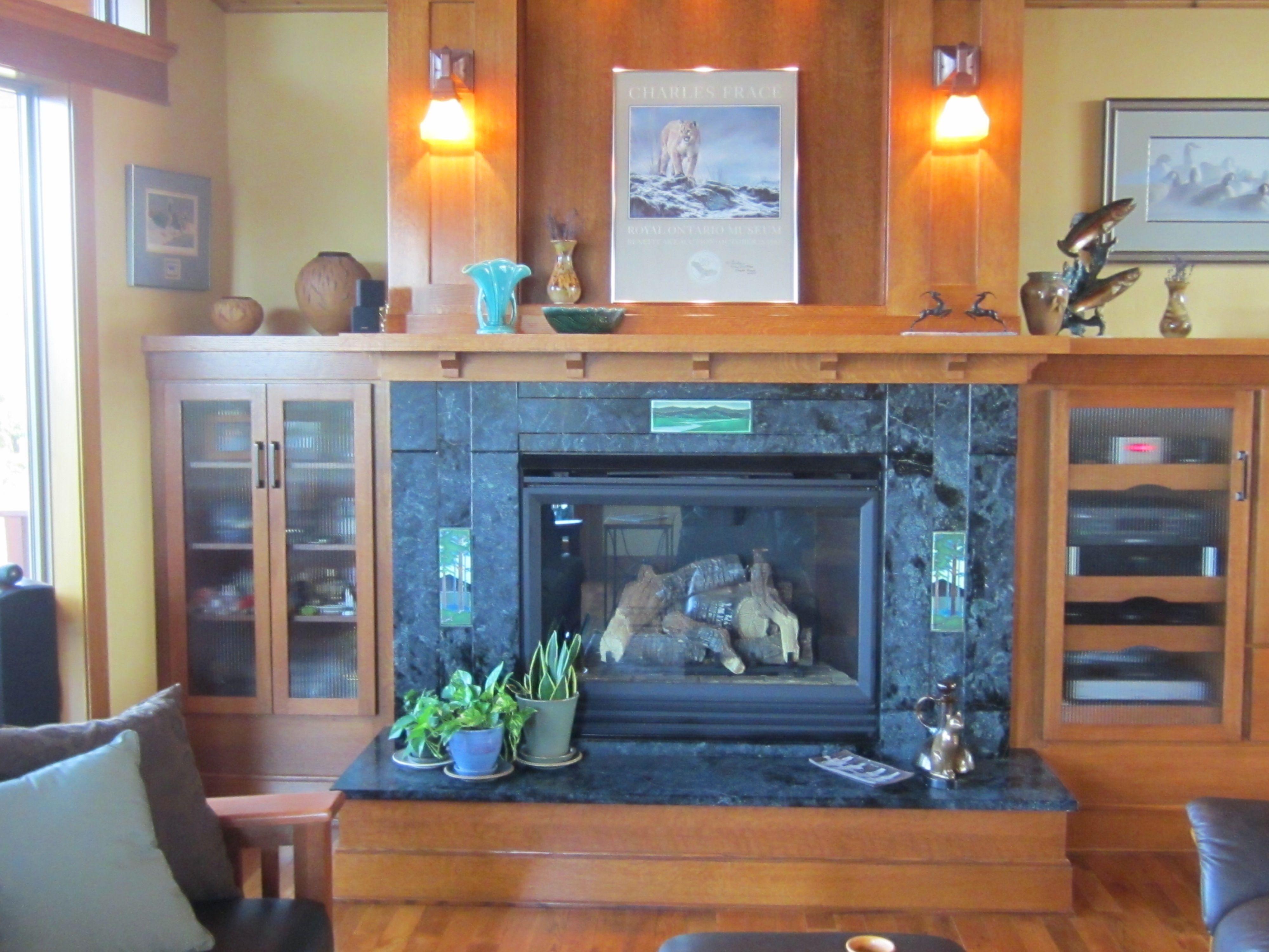 fireplace w soapstone surround u0026 motawi tile u0026 quarter sawn oak