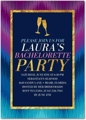 Extravagant Ikat Signature White Bachelorette Party Invitations