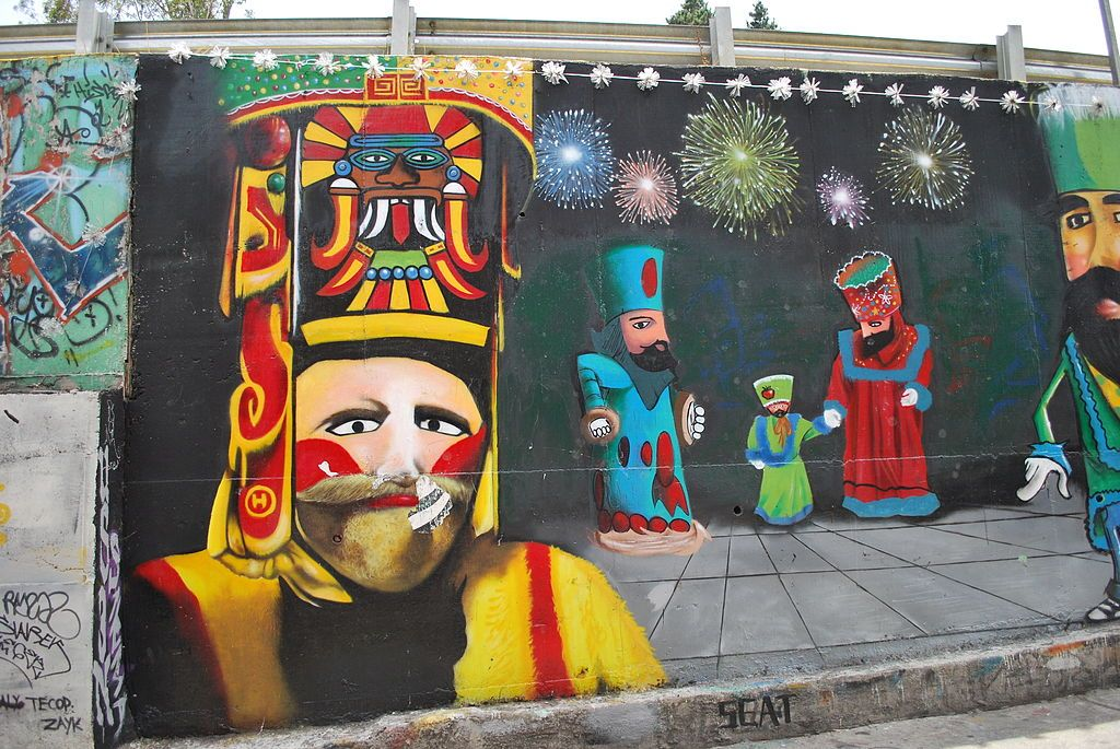 Mural of Chinelos dancers with masks in San Andrés Totoltepec, Tlalpan,