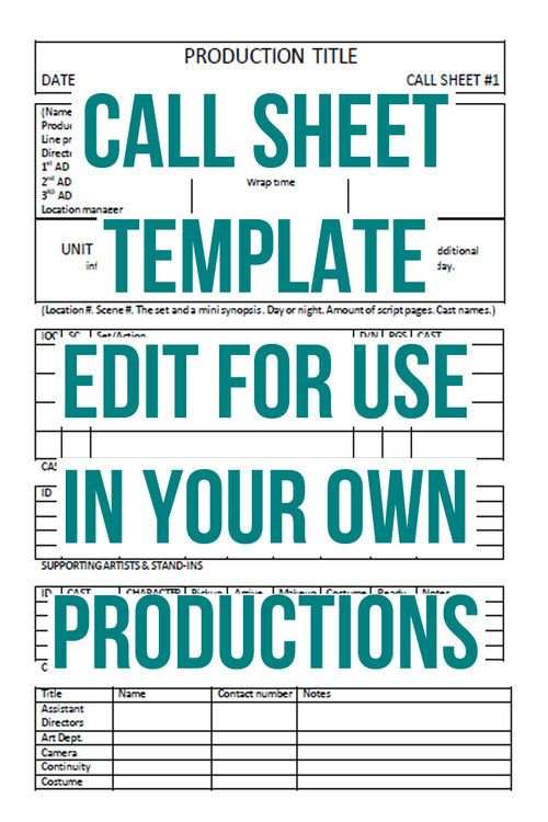 Call Sheet TemplateJpg  Random Fandom    Short Film