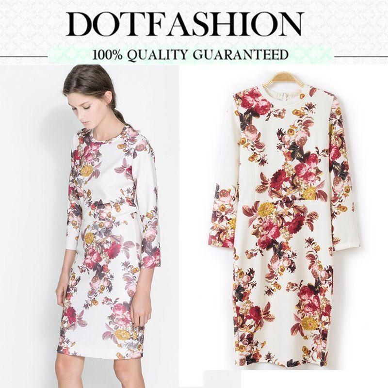 2013 Autumn Hot Sale New Fashion Dress Women Casual White Long Sleeve Vintage Floral Slim Dress
