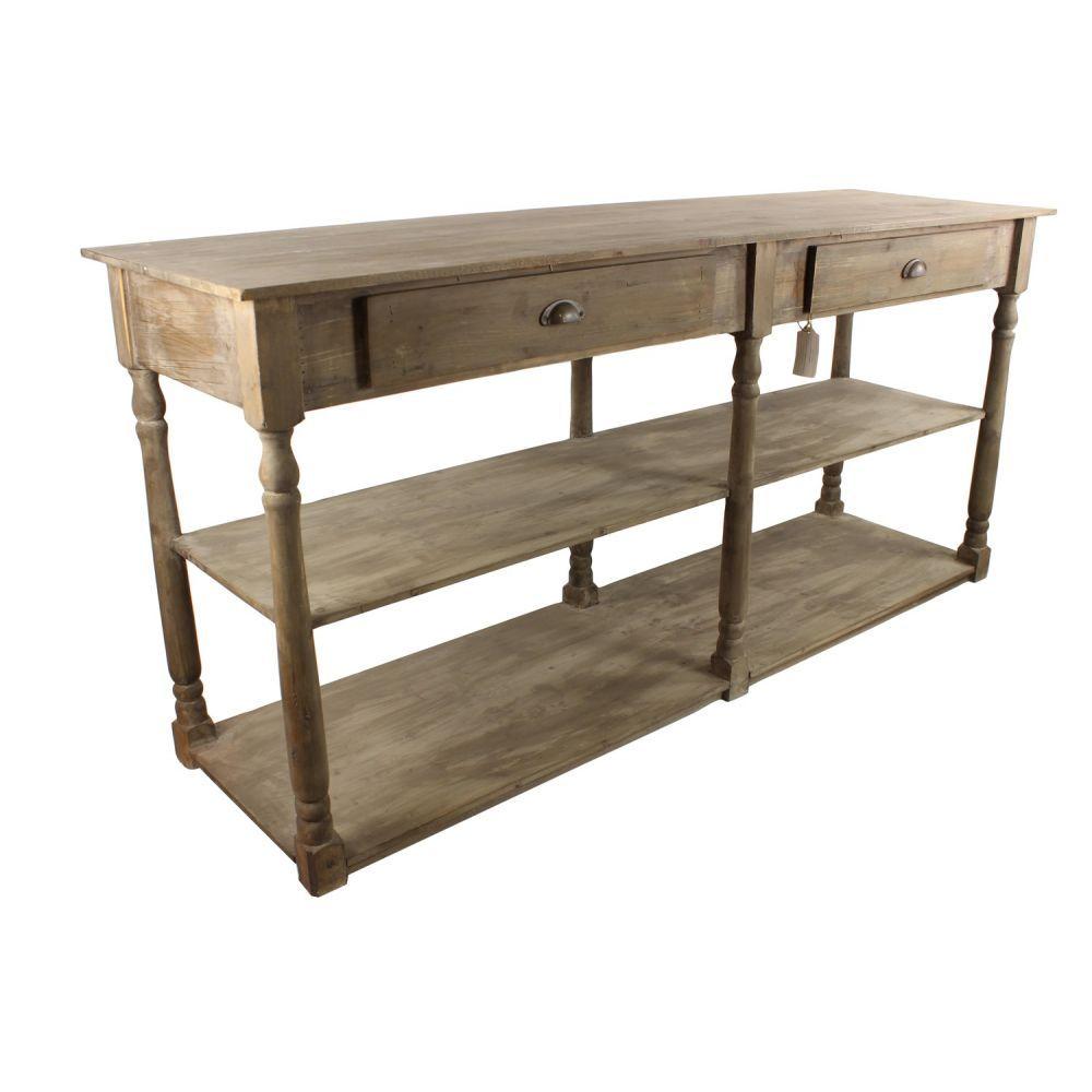 meuble console drapier bois 2 tiroirs 190x54x87cm salle. Black Bedroom Furniture Sets. Home Design Ideas
