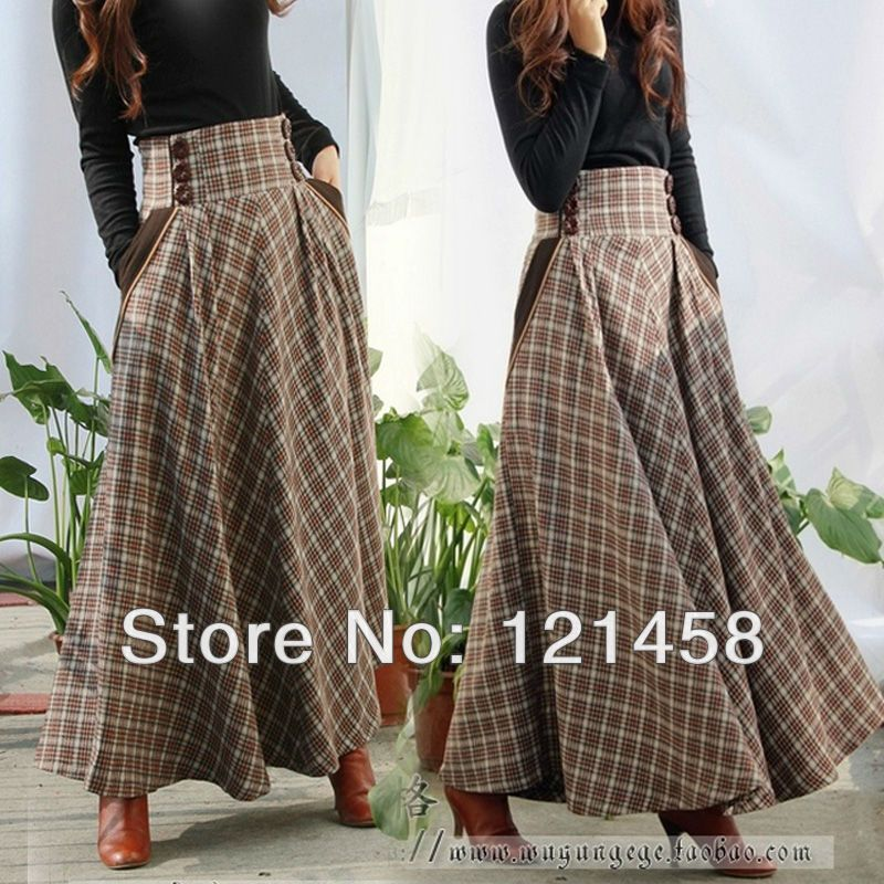 821509f981738 Plus Size Autumn Winter Warm Casual Vintage Style Higher Waist Plaid Wool  Long Skirts / Pocket Pleated Woolen Womens Maxi Skirt