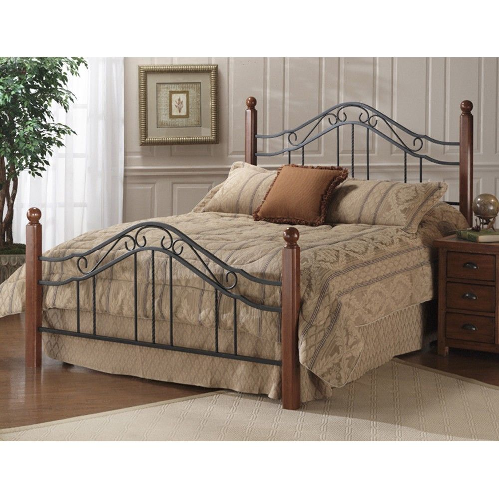 madison wood & iron bed in black / cherry | master bedroom