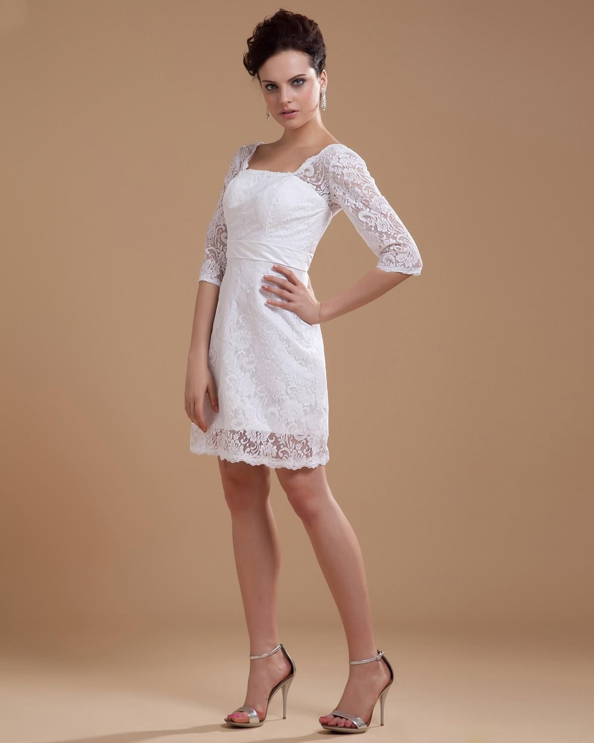Short lace wedding dress with sleeves  Half Sleeve Lace Square Neck Short Wedding DressStyle Nobg