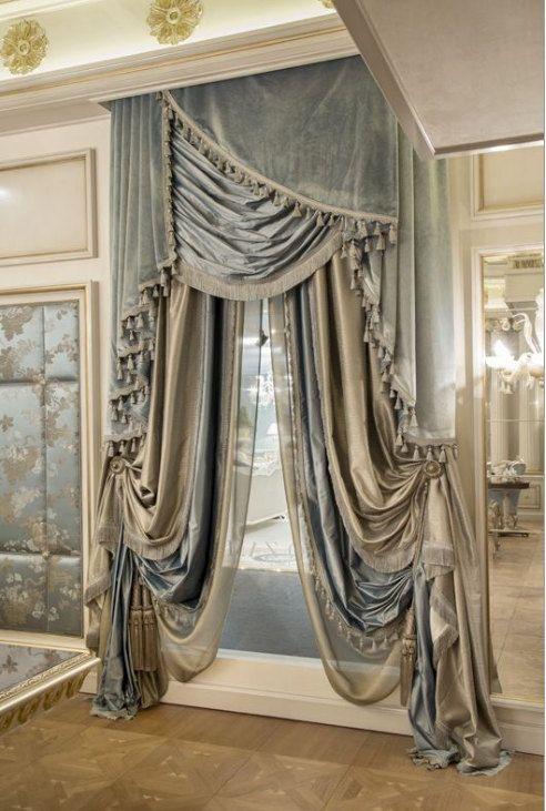 CHAMPAGNE and PORCELAIN Blue silk curtain, dupioni silk, window