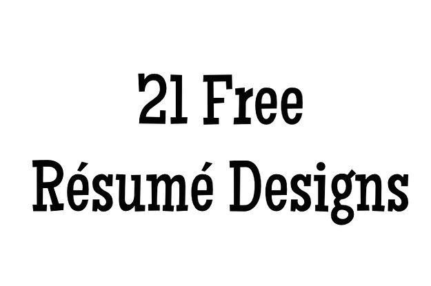 Free Rsum Designs Every Job Hunter Needs  Job Resume And