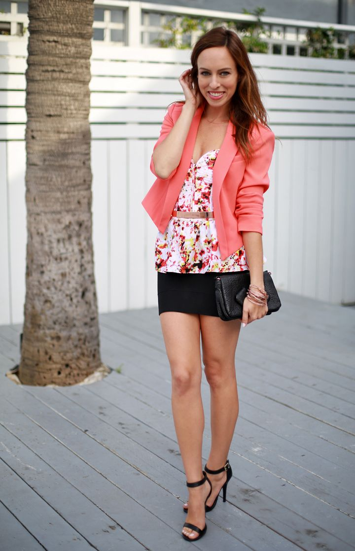 Sydne Style coral blazer printed top black mini skirt bandage ...