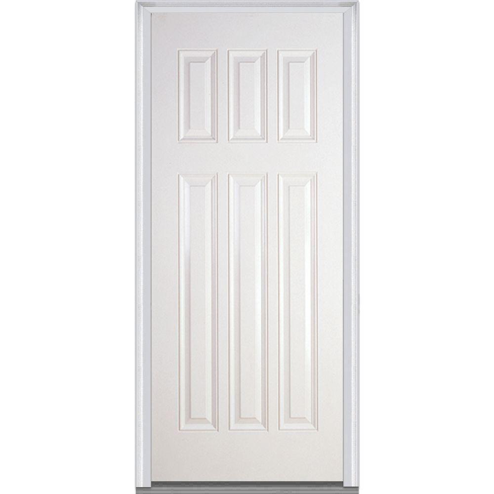 Milliken Millwork 36 in. x 80 in. Craftsman 6-Panel Primed White Fiberglass Smooth Severe Weather Prehung Front Door