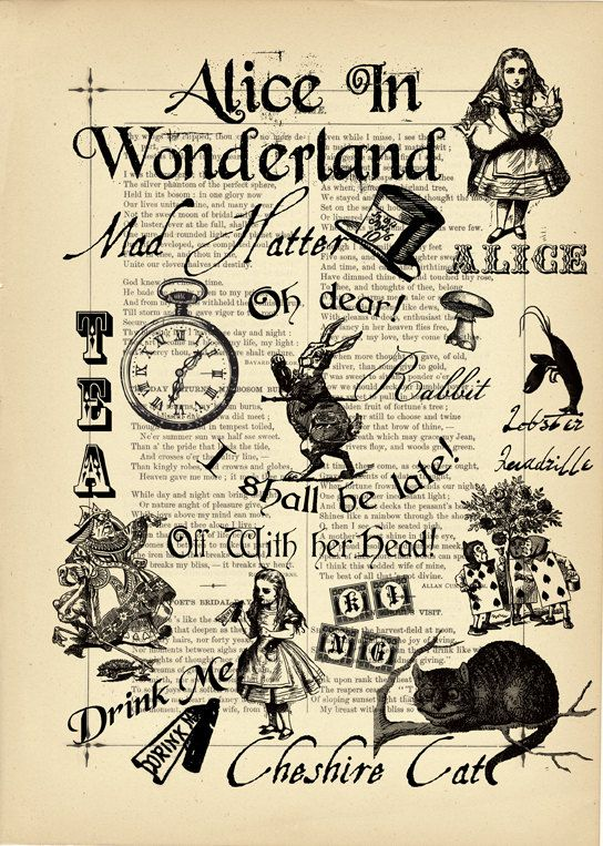 the yellowing of a page from an old copy of alice in wonderland provides a vintage feeling to. Black Bedroom Furniture Sets. Home Design Ideas