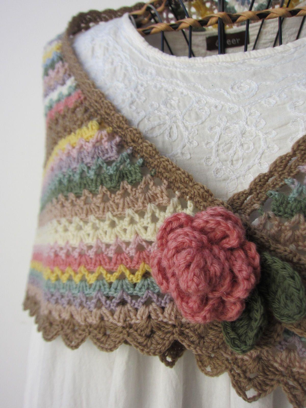 パステルカラーのショール(4)完成 : Crochet with Ricky