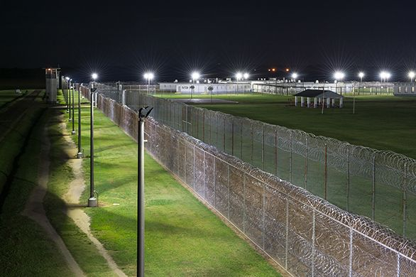 Perimeter Lighting At Correctional Yard With Alpha Led Flood