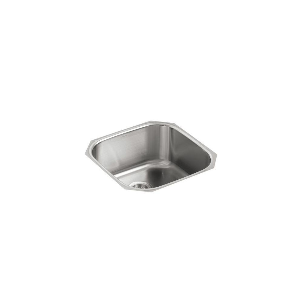 Kohler Undertone Undercounter Undermount Stainless Steel 20 In Single Basin Kitchen Sink K 3335 Na Single Bowl Kitchen Sink Sink