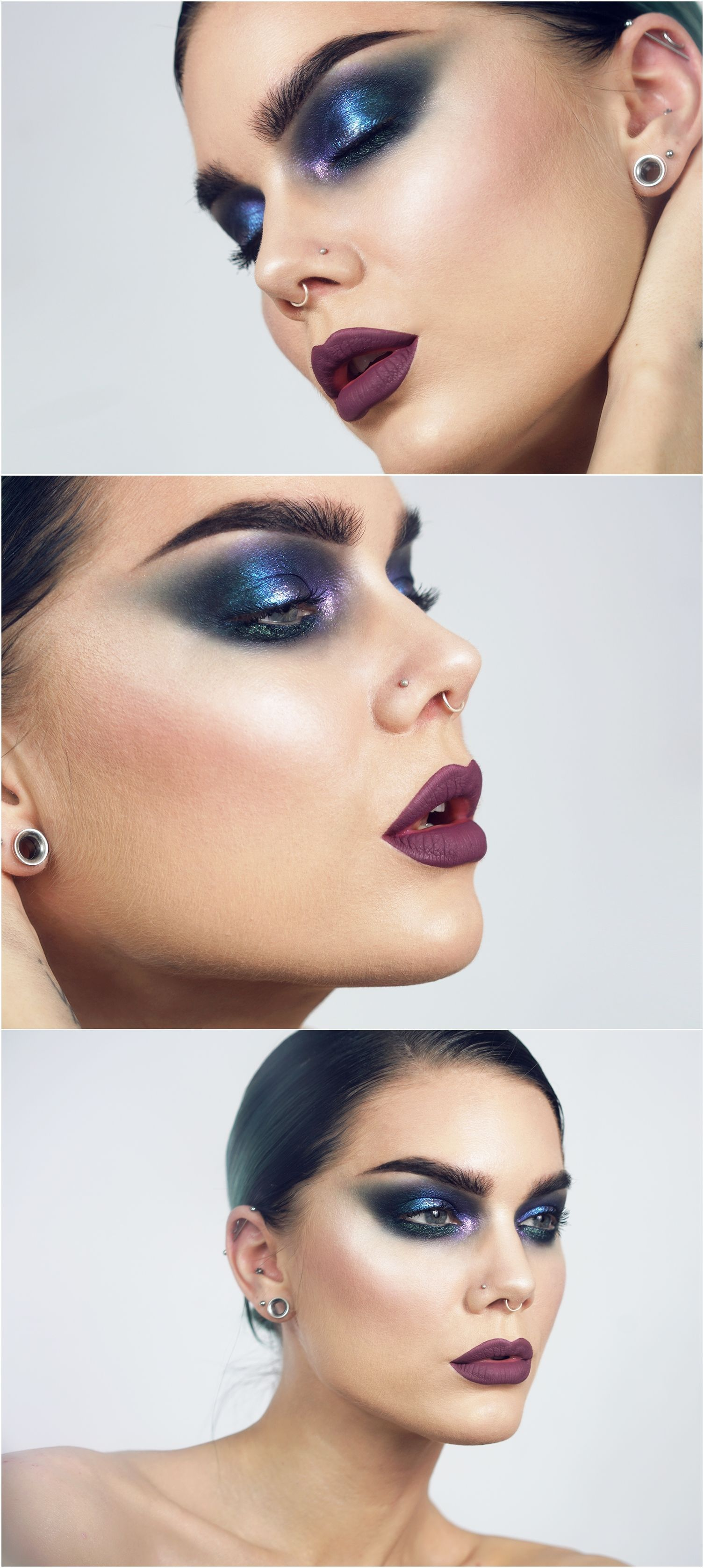 Metallic Blue Smokey Cat Eye W Purple Green Dramatic Bold