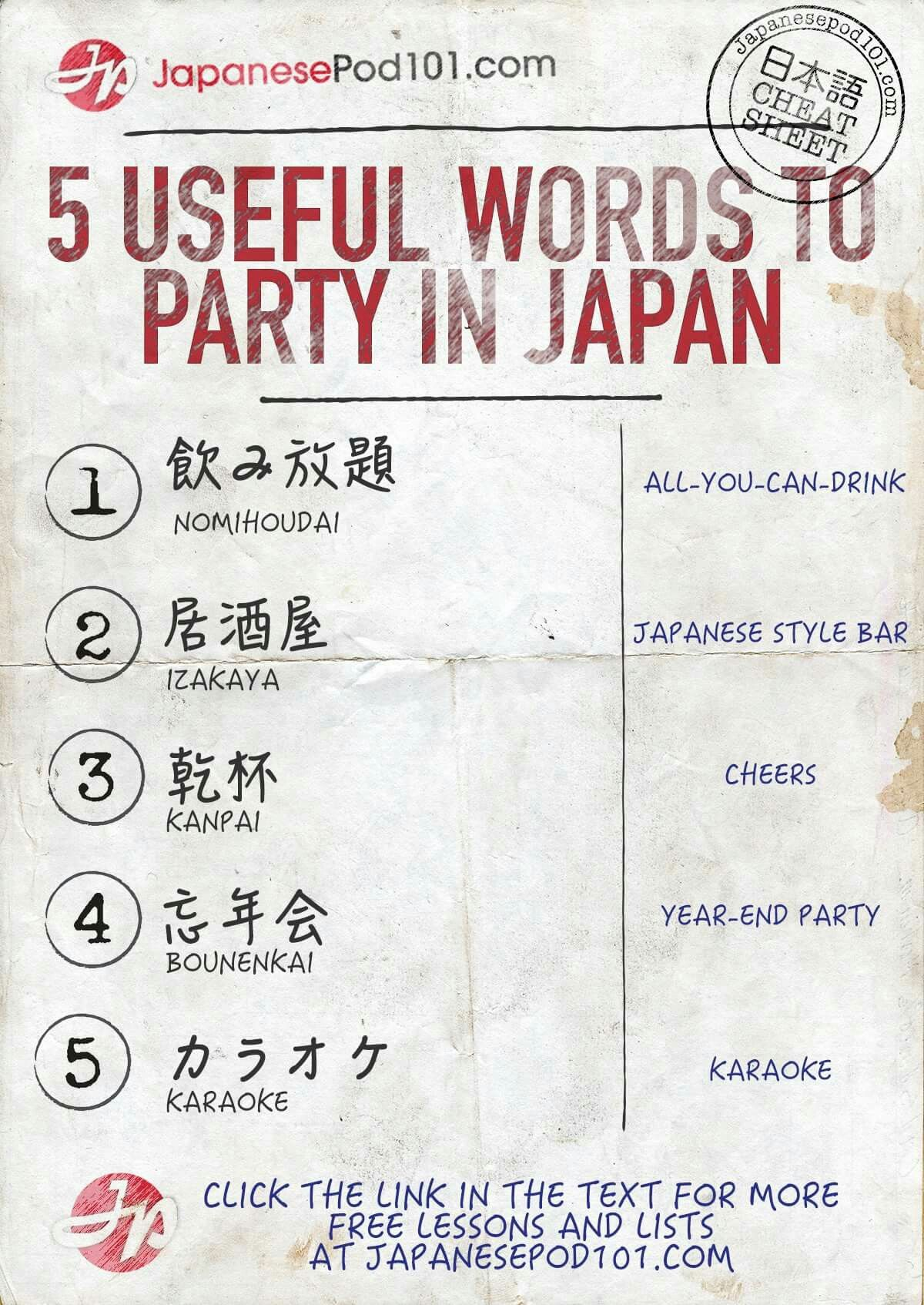 5 Useful Words To Party In Japan Via Japanesepod101 Japanese Study