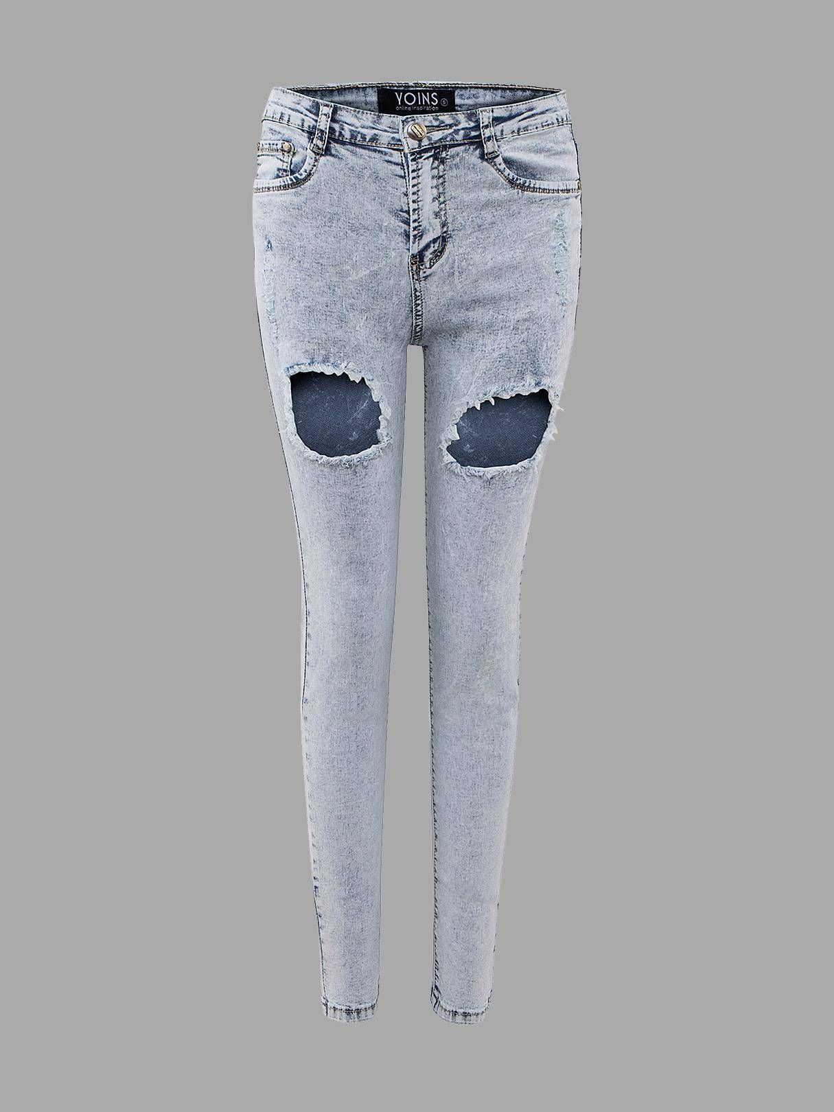 66d8691b87d666 Skinny Jeans In Light Wash With Open Rips - US 25.95 -YOINS