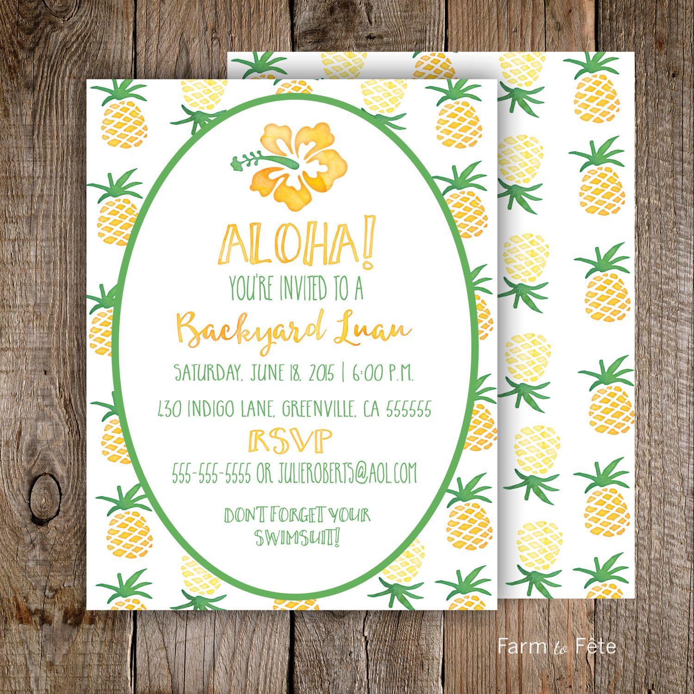aloha backyard luau invitation customized 5x7 printable front