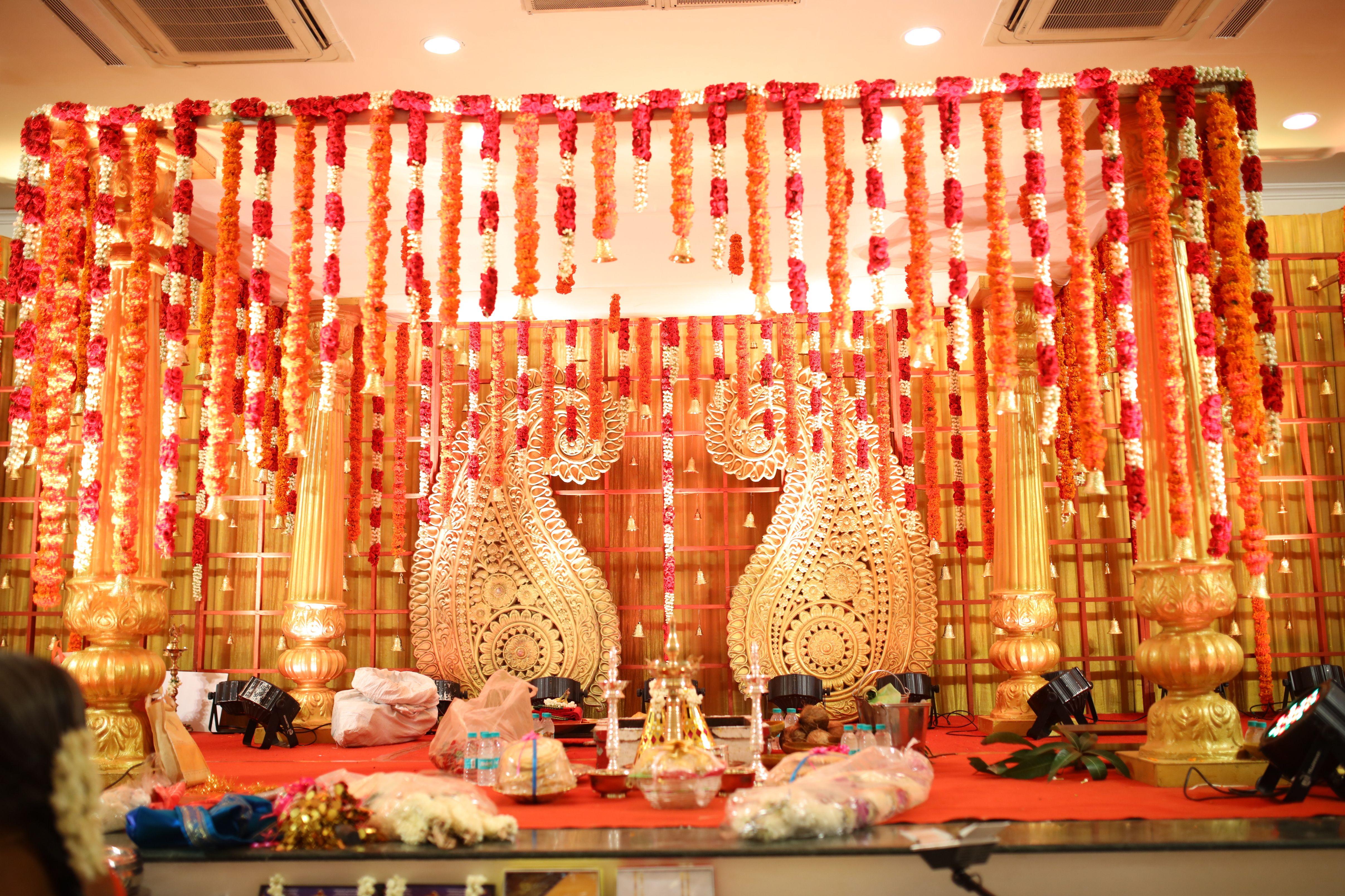 South Indian Mandap Decor Mango Design Marigold Roses Decor Iyer