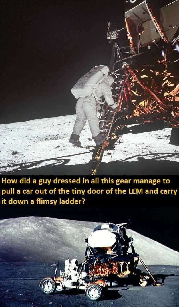 The lunar rover was not pulled out of a hatch and carried down a ladder. This how it was done -> http://www.popsci.com/blog-network/vintage-space/lunar-rover-designing-and-unpacking-car-moon. Video -> https://www.youtube.com/watch?v=5aDSYTMqyQwv=rHF5EcdLxQo #Nasalies