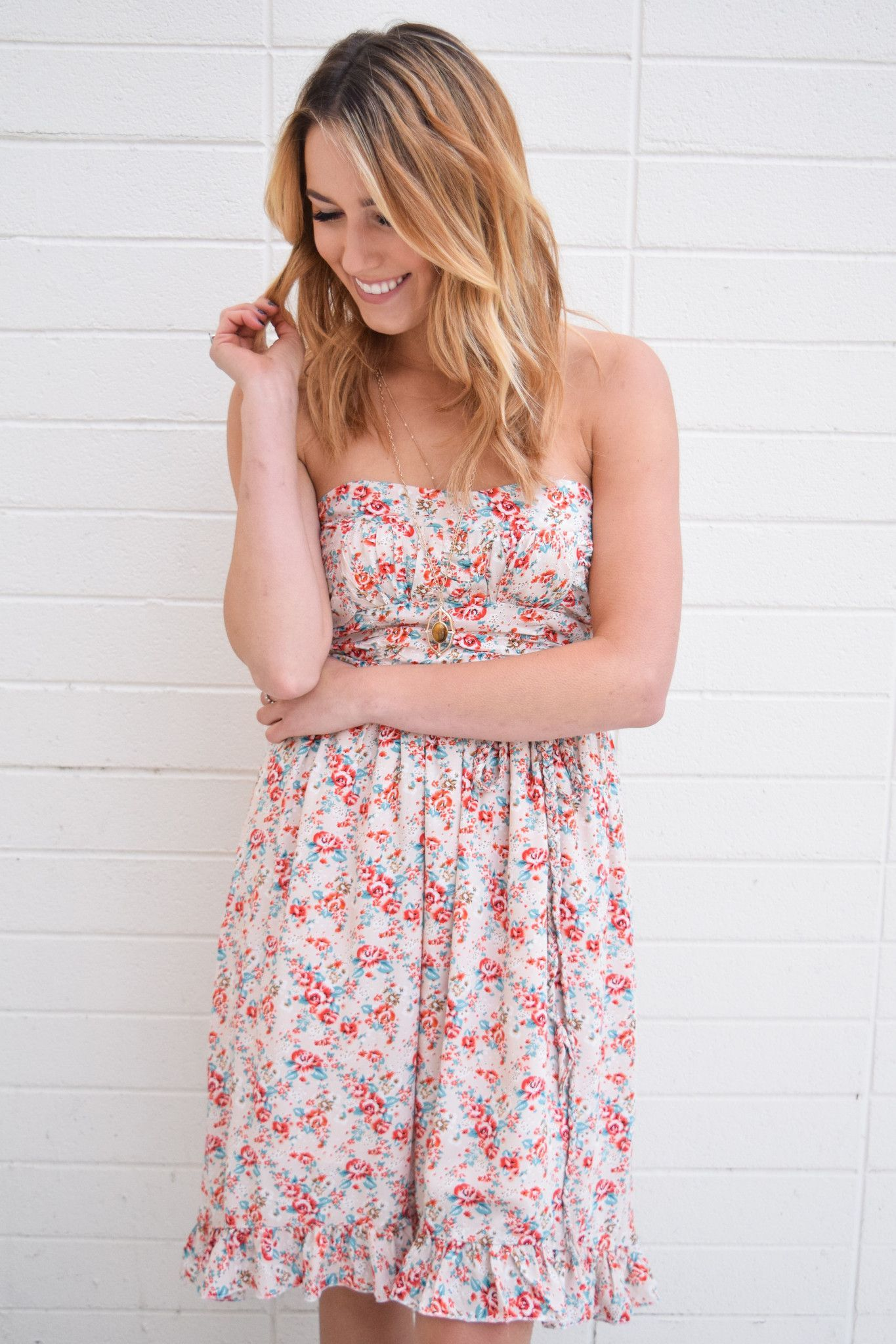 Blooming Spring Strapless Dress