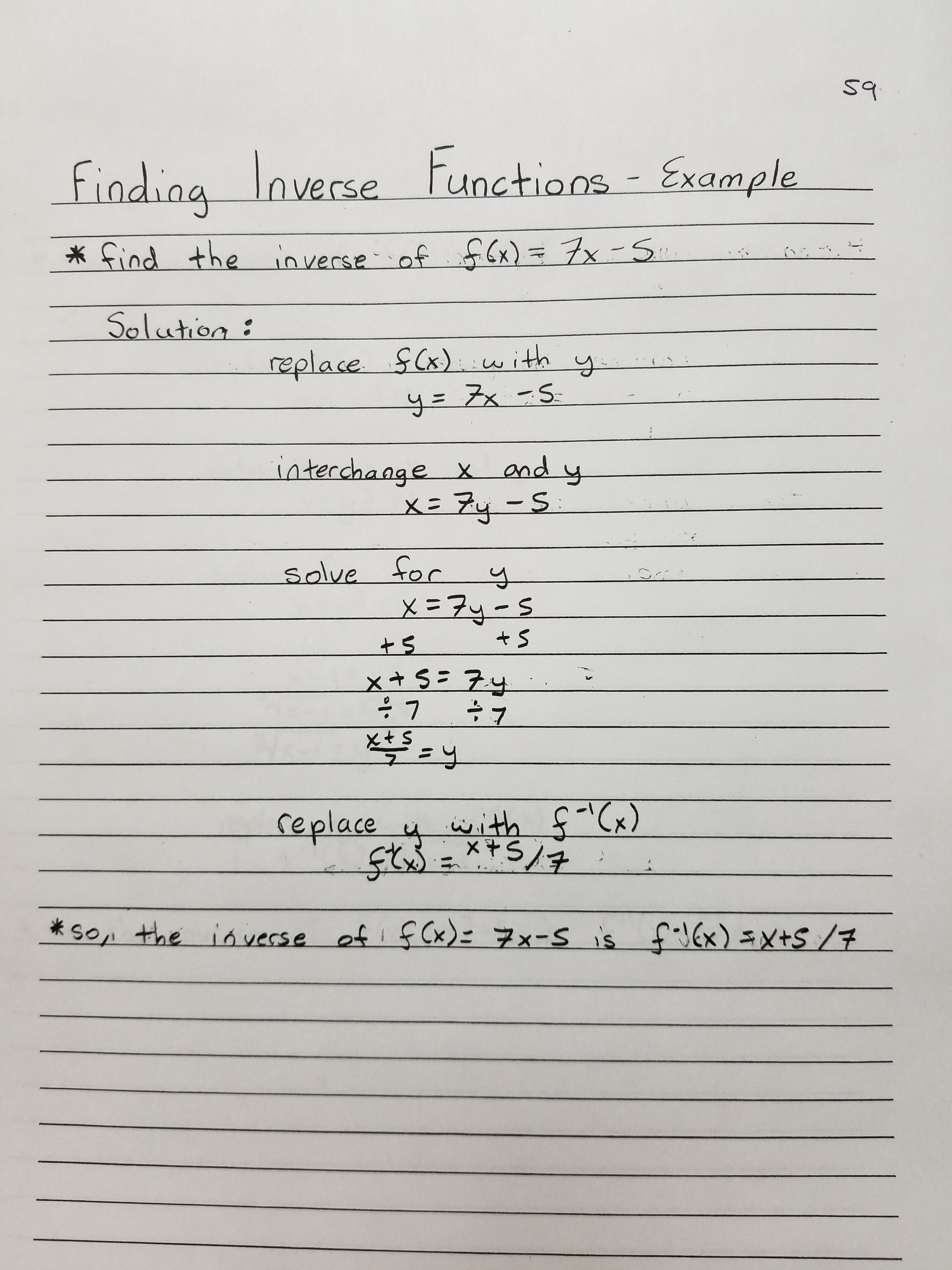 Finding Inverse Functions Example 1 Inverse Functions Life Hacks For School Differential Calculus
