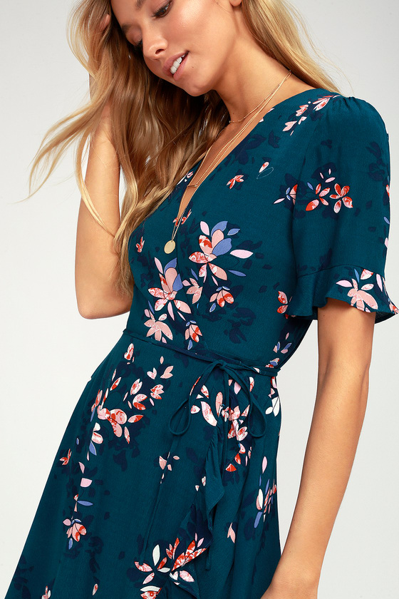 2fe1d5f8028 Lulus | Dalton Teal Blue Floral Print Ruffled Wrap Dress | Size Large