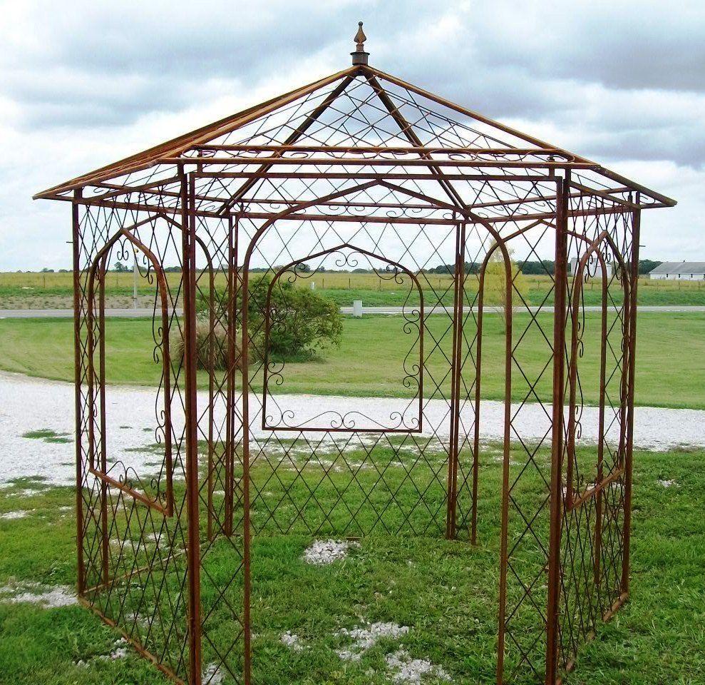 wrought iron flower arbor, garden gazebo trellis - metal yard