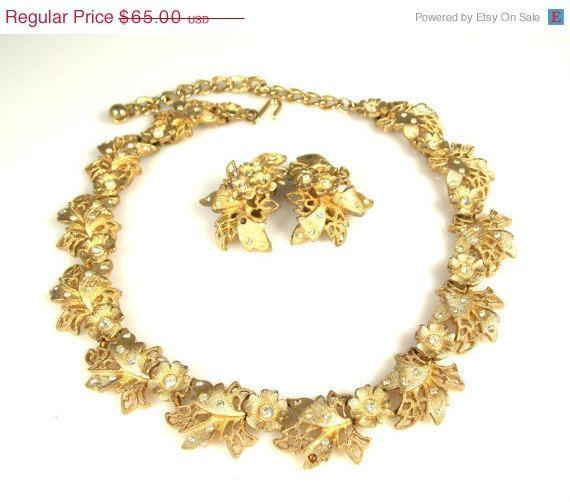 On Sale Vintage Kramer Floral Rhinestone Necklace Earrings Set Demi Parure 1950s