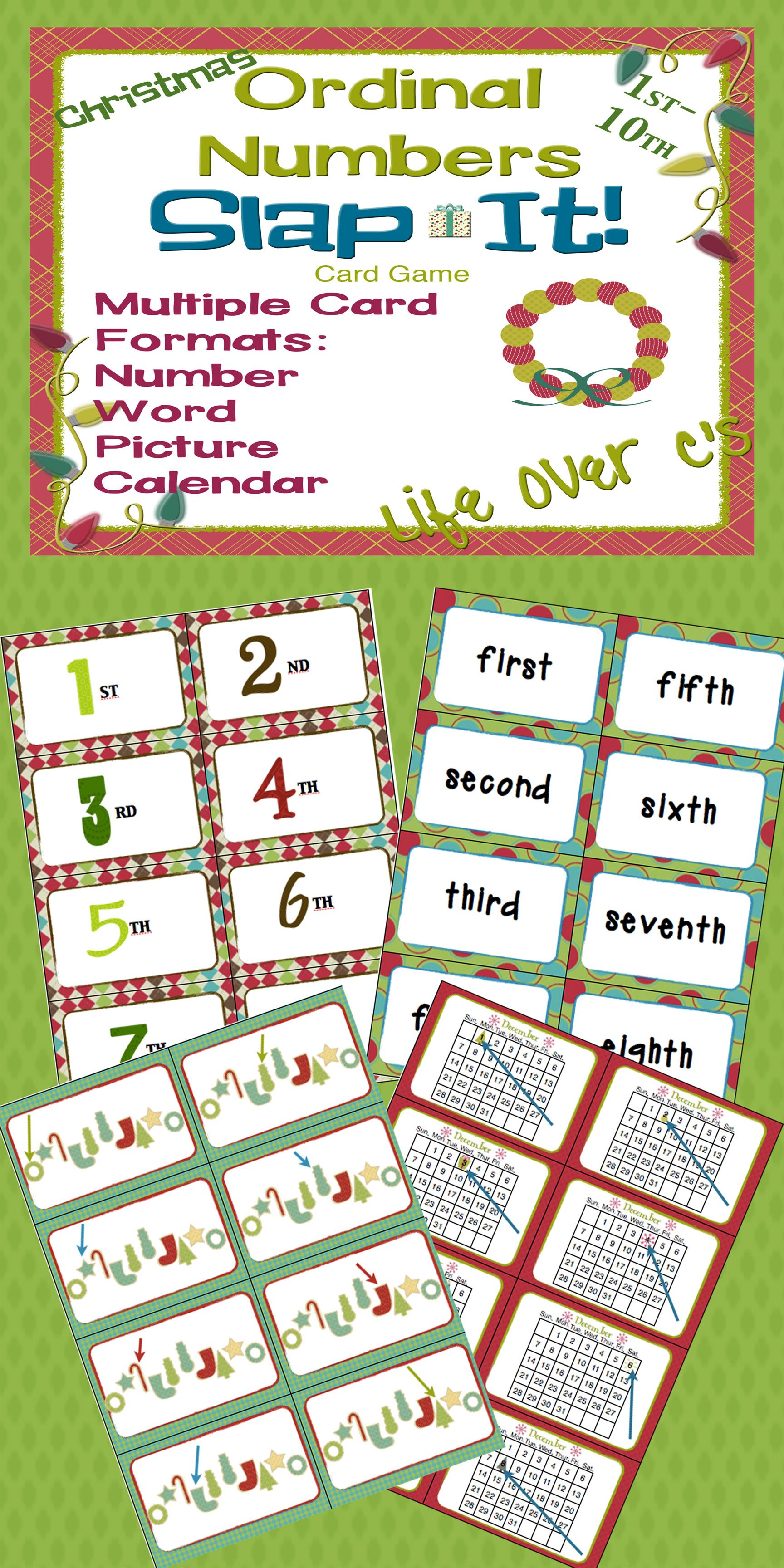 Ordinal Numbers 1st 10th Slap It Card Game Math Center