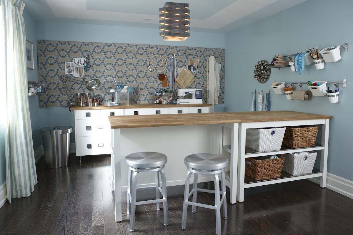 Craft Room With Ikea Kitchen Islands Cabinets Lee Valley Hardware Crate Barrel Barstools Giant Fabric Covered Bulletin Board And Hanging