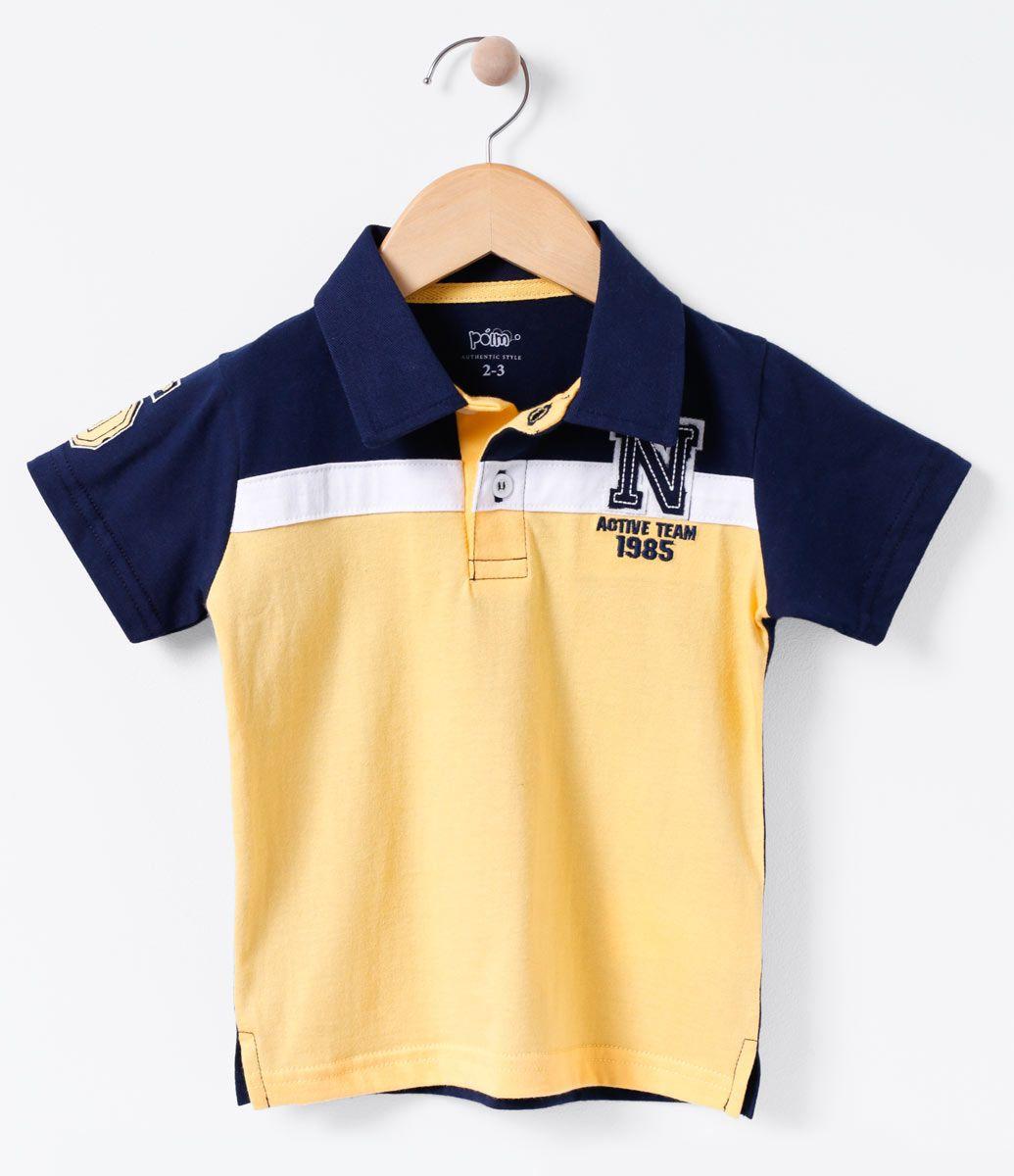 645abf22ed Camiseta infantil Manga curta Gola polo Com recorte Com bordado Marca  Póim  Tecido  meia