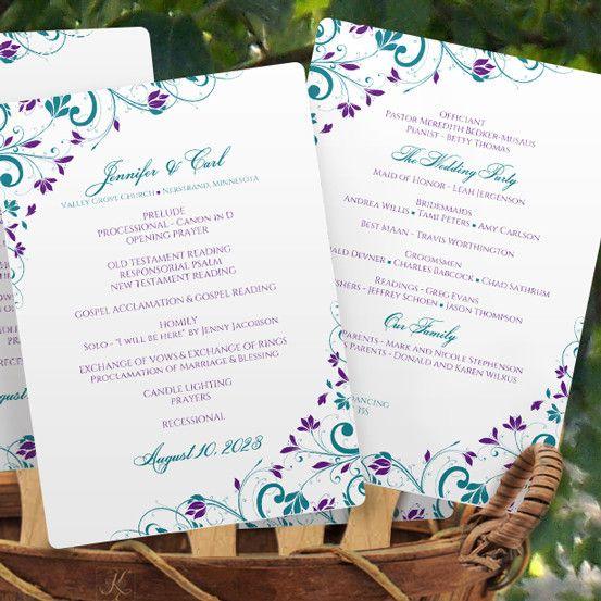 Program Fan Template   Chic Bouquet (Jade & Purple)
