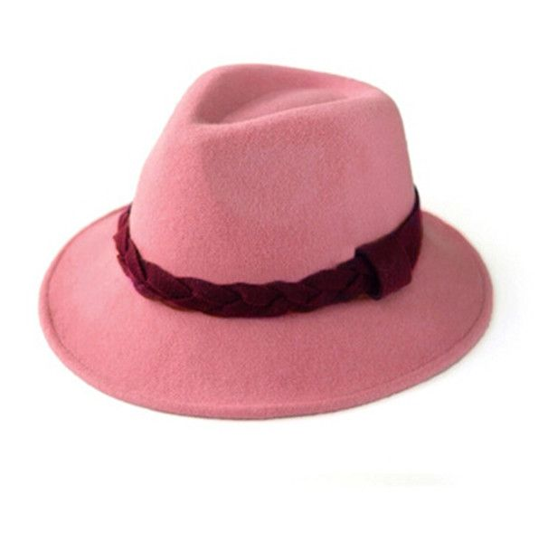 Pink fedora hat for women leisure wool felt hats winter wear  308a766144a