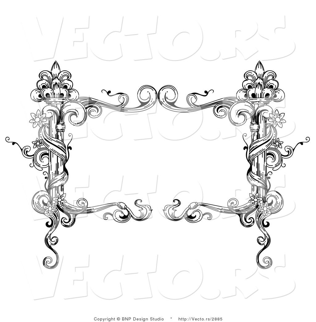 Vector of Black and White Rectangular Vintage Floral Vine