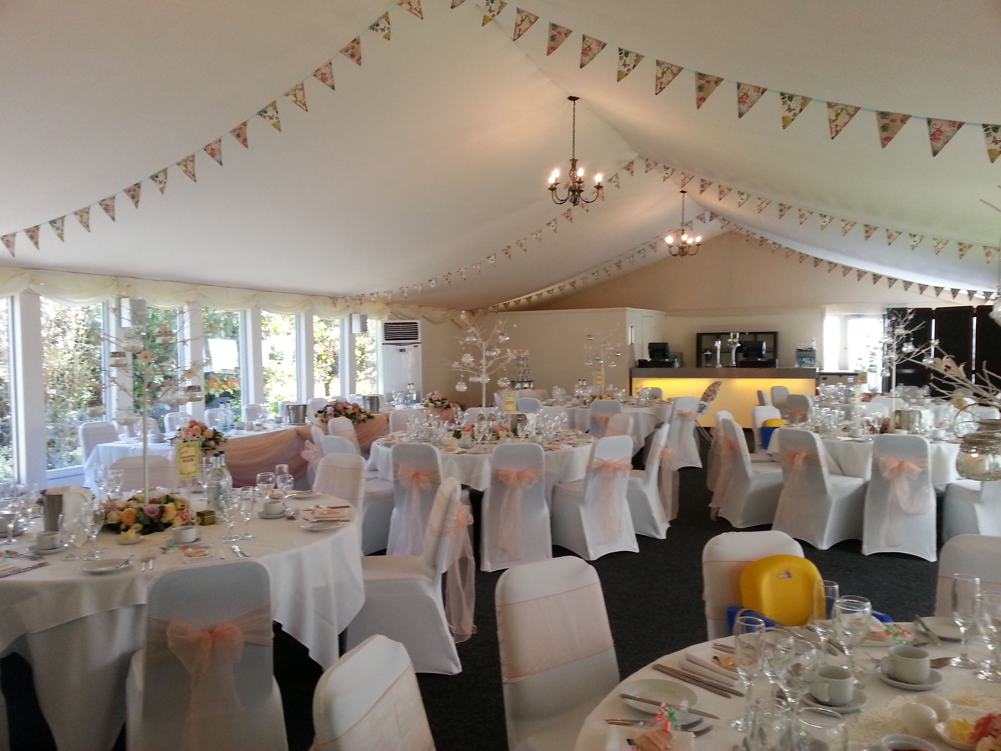 Wedding Venue Chair Covers And Sashes Lawn Fabric Peach On Chairs In The Hunton Park Marquee Holly