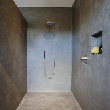 Photo of pianificazione del bagno, bagno, doccia, vanità, spa privata, legno, muro di cemento, senza soluzione di continuità, bo …