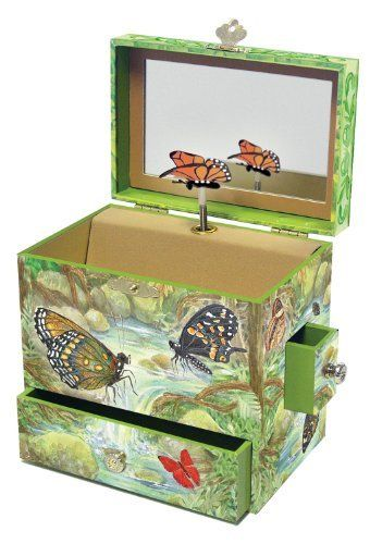 """Monarchs Music Box by Reeves (Breyer) Int'l. $22.69. From the Manufacturer                The tallest Enchantmints style, 6""""X4""""X6"""",  is excellent for tiny treasures.  Earrings, bracelets, charms and sachets are all safe and comfortable inside. Has four drawers, one in front, one in back, and one on each side.                                    Product Description                B4009 Features: -Music box.-Materials: 70pct MDF, 15pct Metal, 10pct Paper, 3pct ABS, 2pct Glass.-Hear..."""