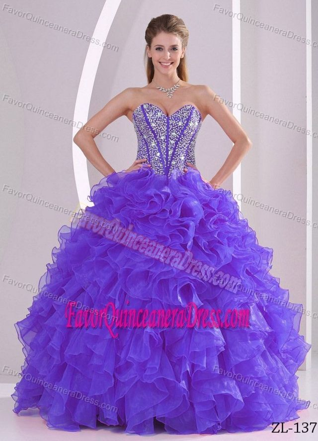 4d40ec4c265 Ruffled Ball Gown Sweetheart Beaded Quinceanera Gown Dresses in Organza