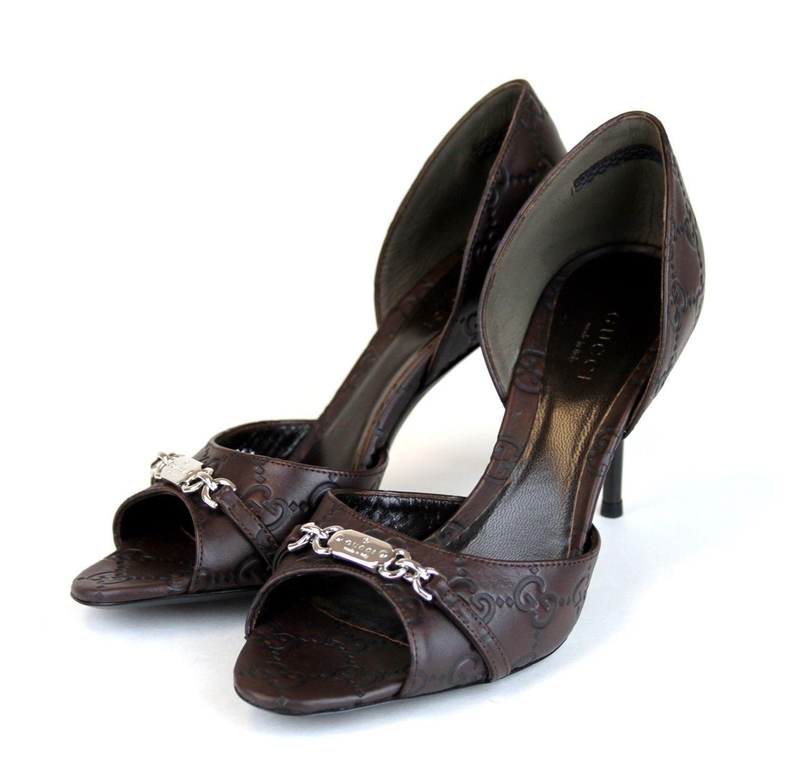$660  Authentic Gucci Guccissima Leather Open Toe Pump,Chocolate, 317029 2019