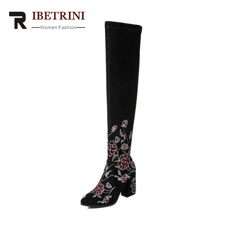 RIBETRINI 2018 Winter Embroider Flock Sexy Thigh High Boots Zip Rose High  Hoof Heels Hot Sale