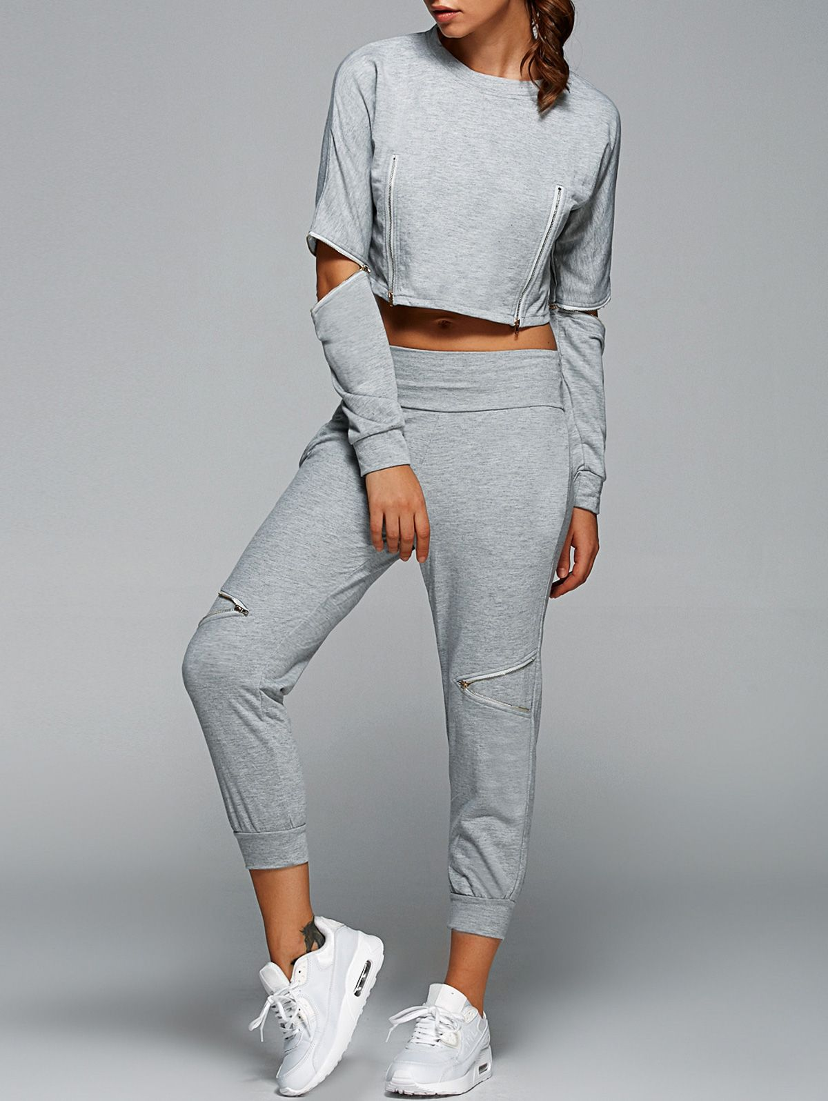 5ed595e848 Zipped Crop Sweatshirt and Pants - GRAY M