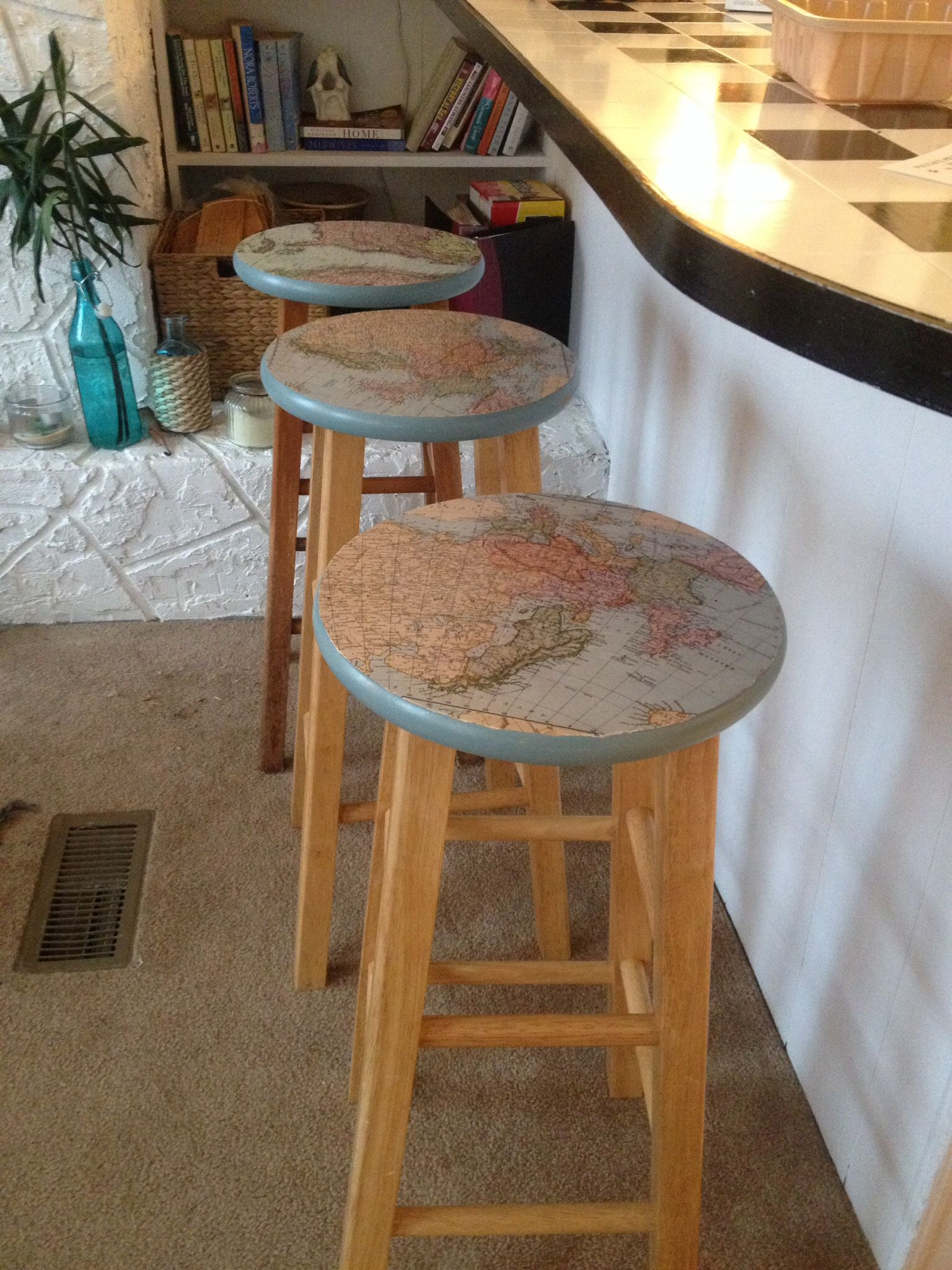Decoupaged The Tops Of The Bar Stools At The Beach Cottage Diy
