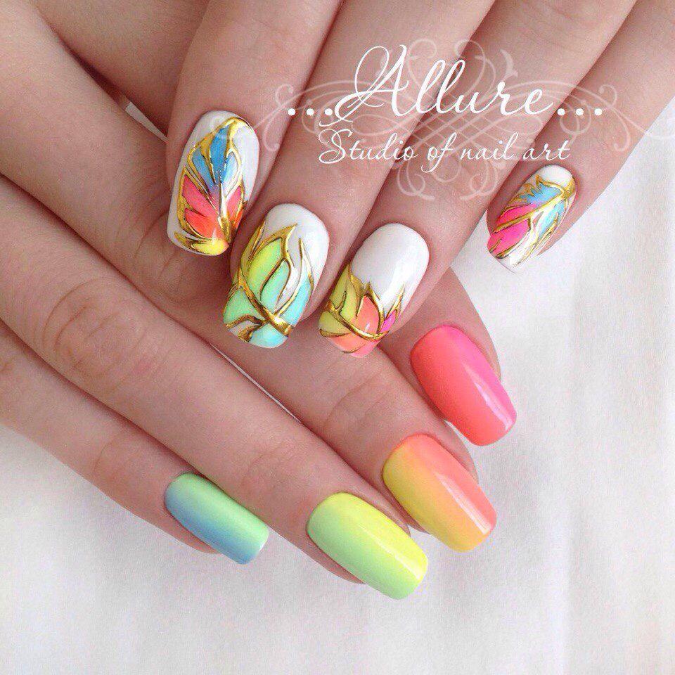 Градиент, перья | Nagels | Pinterest | Amarillo y Uñas hermosas