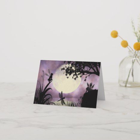 Fairy moonlit pond note card - Wouldn't you love to be a fairy. #Fairy #Faeries #Fairyart #beautiful #magic #mystical #giftforher #rainbow #love #girls