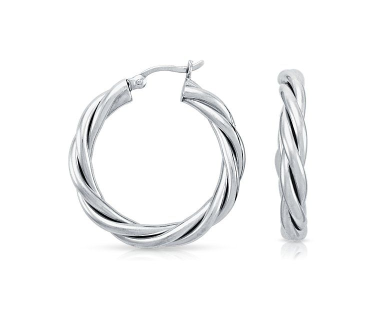 Blue Nile Mesh Hoop Earrings in Sterling Silver with 14k White Gold Posts (7/8) xQ0eA7